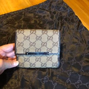 Gucci beige GG canvas leather trim wallet